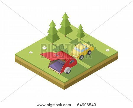 Vector isometric illustration of Camping trailer with car, transport for travel icon. Camping place