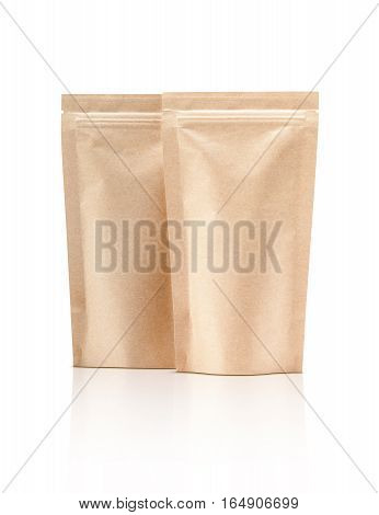 blank packaging recycle kraft paper pouch isolated on white background with clipping path ready for package design