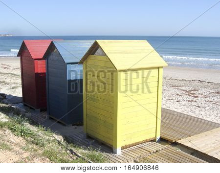 Changing rooms, or Huts on Spanish beach
