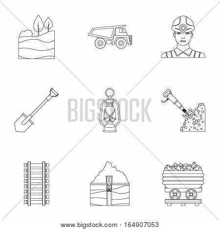 Mine set icons in outline style. Big collection of mine vector symbol stock