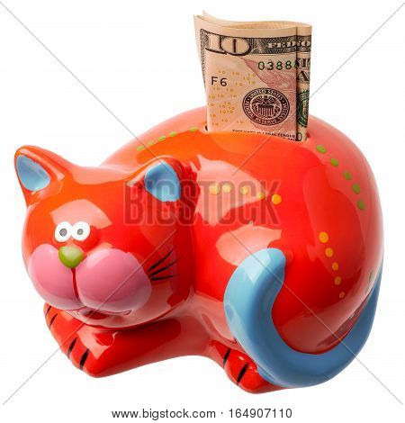Red moneybox on a white background with the note ten dollars