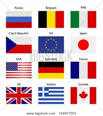 SET - Table stand with flags. Symbolizing the cooperation between the two countries. flag icons. Two flag vector. flags pole.