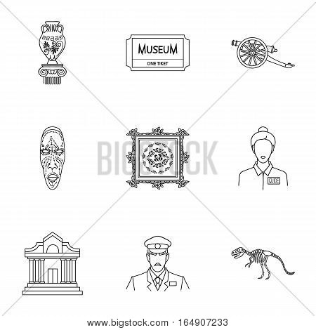 Museum set icons in outline style. Big collection of museum vector symbol stock
