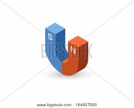 Vector isometric illustration of magnet icon, 3d flat design