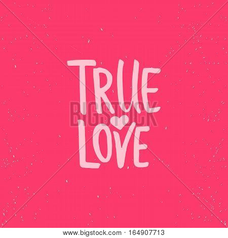 True love - lettering Valentines Day calligraphy phrase isolated on the background. Fun brush ink typography for photo overlays, t-shirt print, flyer, poster design.