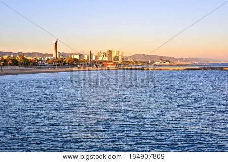 Barcelona Beach at sunset Platja Nova Icaria or Barceloneta view