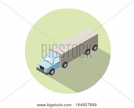 Vector isometric illustration of Truck. Lorry with container, isolated on white background. Cargo transportation icon. Game environment, transport infographics, logo, web design
