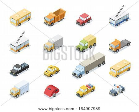 Vector isometric set of city transport, car icons, bus, vans, camping trailer, and trucks isolated. 3D flat design