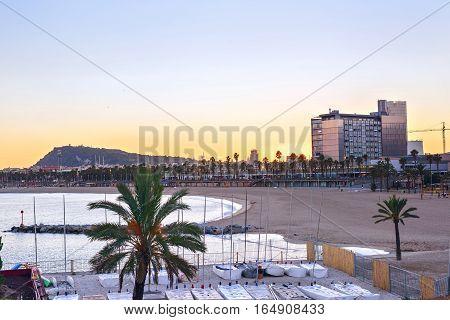 Beautiful Barcelona Beach at sunset Platja Nova Icaria or Barceloneta view