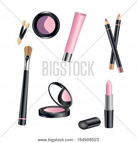 Vector set of cosmetics shadows, lipstick, brush powder