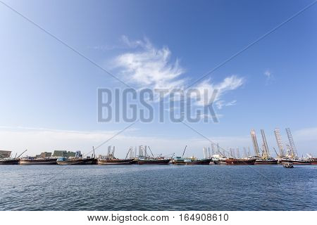 Dhow harbor and docks at the Sharjah Creek United Arab Emirates Middle East