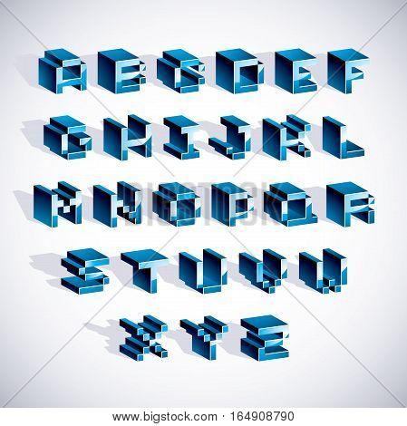 Cybernetic 3D Alphabet Letters, Pixel Art Vector Digital Typescript. Pixel Design Elements, Contempo