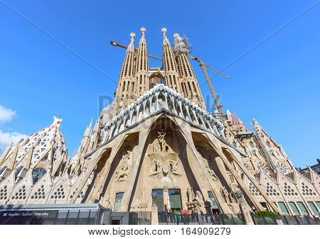 BARCELONA SPAIN - November 09, 2016: La Sagrada Familia, Passion Facade - the famous cathedral designed by Antoni Gaudi, which is being build since 19 March 1882