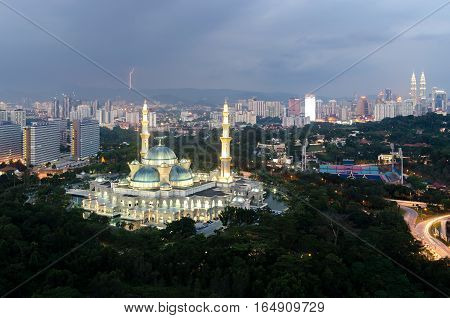 Aerial view of Federal Territory Mosque during sunset. Federal Territory Mosque is a major mosque in Kuala Lumpur Malaysia