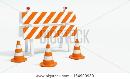 Road barrier with road cones on white background with copy space 3d illustration