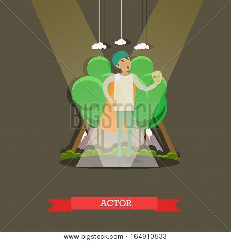 Vector illustration of actor playing a part of Hamlet in Shakespeares tragedy. Theater concept design element in flat style.