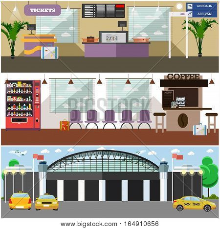 Vector set of airport interior concept posters, banners, backgrounds. Airport terminal, cafe, convenient waiting hall, exterior, taxi design elements in flat style.
