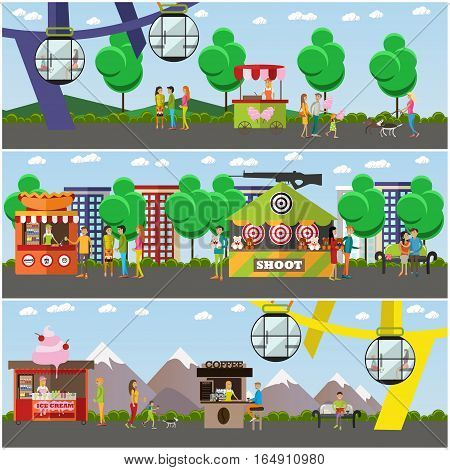 Vector set of amusement park concept posters, banners. Amusement park area with ferris wheel, shooting range attractions, food stalls, trolley and people having rest design elements in flat style.