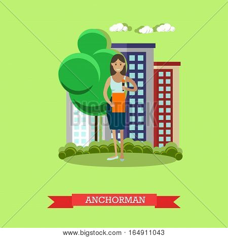 Vector illustration of anchorman. The news reporter woman, journalist, commentator. Mass media jobs, TV broadcast concept design element in flat style.