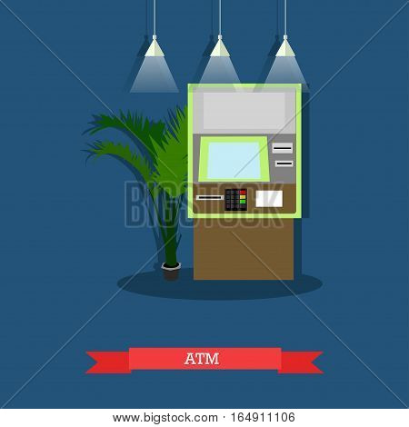 Vector illustration of ATM. Automated teller machine, automatic cash terminal, cash dispenser. Banking and technology concept design element in flat style
