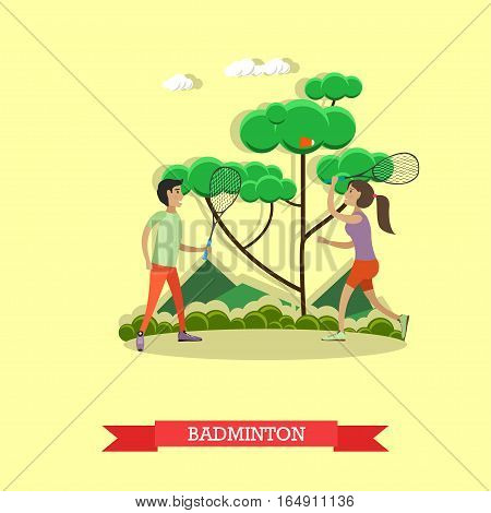Vector illustration of boy and girl playing badminton. Summer vacation, outdoor games concept design element in flat style.