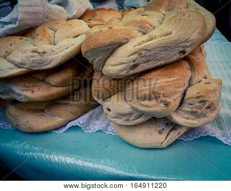 Fresh raisin loaf at the Feria de Mataderos