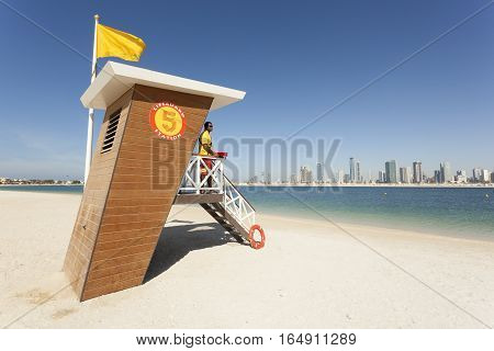 DUBAI UAE - NOV 30 2016: Lifeguard station at the Al Mamzar beach in Dubai. United Arab Emirates Middle East