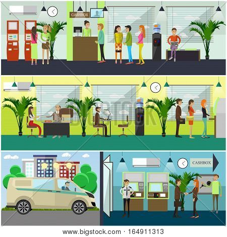 Vector set of banking concept design elements in flat style. Cashbox, waiting hall, bank employees workplaces, safe, self-service terminal, ATM. Bank staff, security guard, collector, customers.