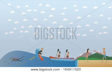 Vector illustration of surfer riding on ocean wave, diver underwater, people paddling, playing flying disc. Beach activity, extreme water sports, outdoor games concept design element in flat style.