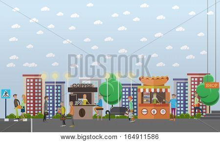 Street traffic concept vector illustration in flat style. Street food stalls, kiosks. People sellers and buyers. Couple crossing street.