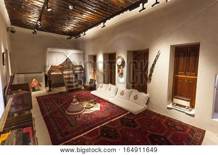 SHARJAH UAE - NOV 28 2016: Room of a Sheikh in the Al Hisn fort in the city of Sharjah United Arab Emirates