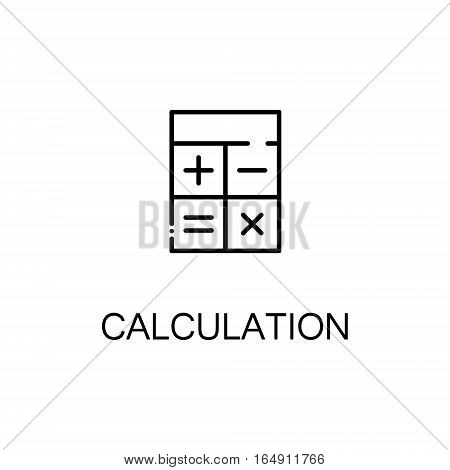 Calculation flat icon. Single high quality outline symbol of education for web design or mobile app. Thin line signs of Cclculation for design logo, visit card, etc. Outline pictogram of calculation