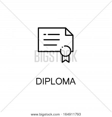 Diploma flat icon. Single high quality outline symbol of education for web design or mobile app. Thin line signs of Diploma for design logo, visit card, etc. Outline pictogram of Diploma