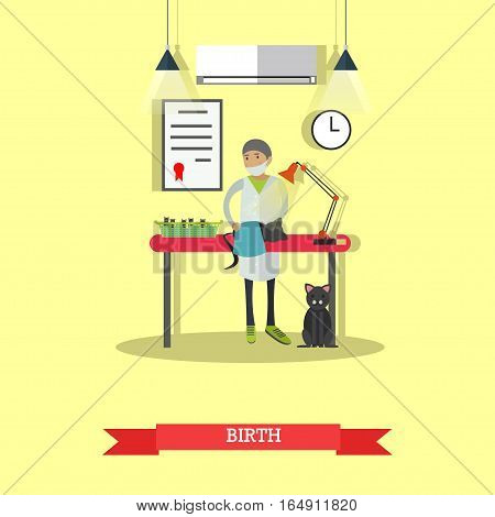 Vector illustration of veterinary surgeon assisting in kitten birth. Vet clinic services concept design element in flat style.