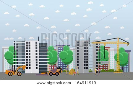 Residential construction concept vector illustration. Construction workers and machines. Building site. Flat style design.
