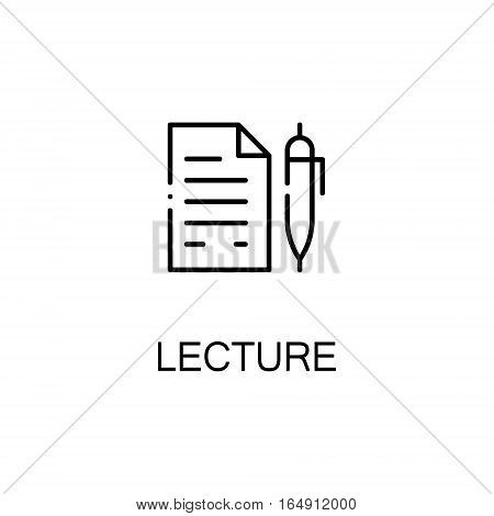 Lecture flat icon. Single high quality outline symbol of education for web design or mobile app. Thin line signs of Lecture for design logo, visit card, etc. Outline pictogram of Lecture