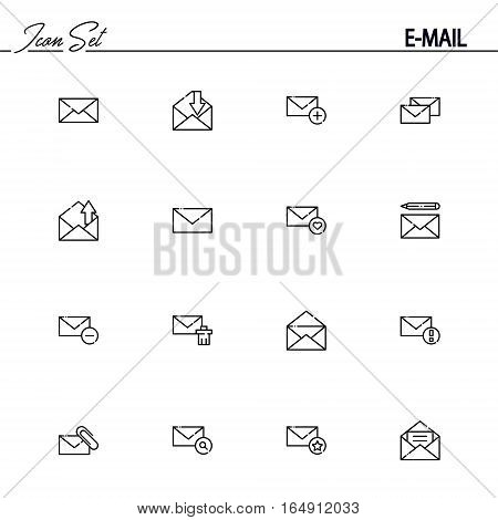 E-mail flat icon set. Collection of high quality outline symbols of mail for web design, mobile app. Vector thin line icons or logo of mail.