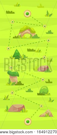 Game map Illustration and floral elements. Set cute trees rocks for mobile games and web design. Vector stock illustration