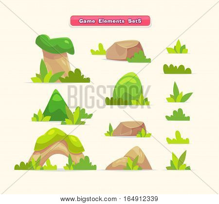 Illustration of a set of cartoon spring or summer little trees with grass for ui game. Set of cute elements for mobile games and web design. Vector stock illustration