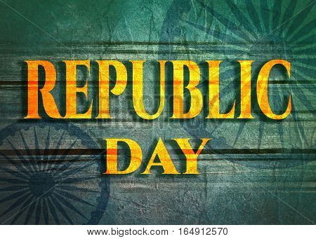 Indian Republic day concept with text republic day. Modern brochure, report or flyer design leaflet. Wheels from India flag. Concrete and grunge texture