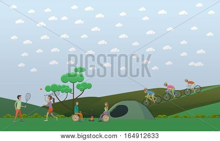 Vector illustration of people sitting at the campfire near the tent, playing badminton, cycling. Camping with tent, summer outdoor activities concept design element in flat style.