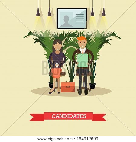 Vector illustration of people waiting in line for job interview. Job candidates concept design element in flat style. poster