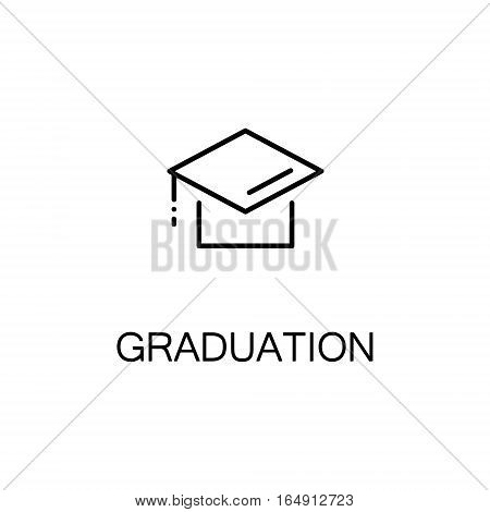 Graduation cap flat icon. Single high quality outline symbol of education for web design or mobile app. Thin line signs of Graduation cap for design logo, visit card, etc. Outline pictogram of Graduation cap