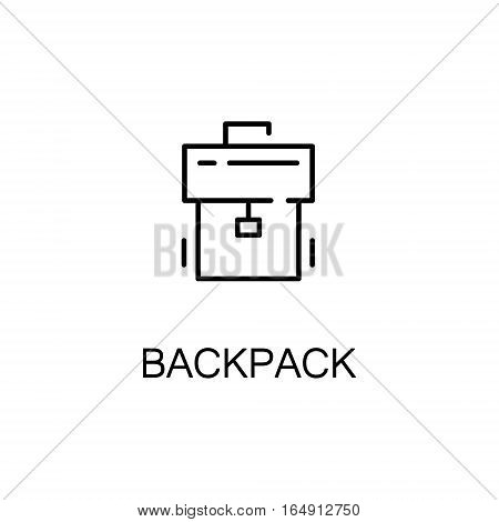 Backpack flat icon. Single high quality outline symbol of education for web design or mobile app. Thin line signs of Backpack for design logo, visit card, etc. Outline pictogram of Backpack