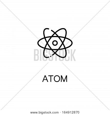 Atom flat icon. Single high quality outline symbol of education for web design or mobile app. Thin line signs of Atom for design logo, visit card, etc. Outline pictogram of Atom