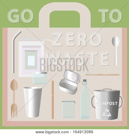 set of things go to zero waste flat lay vector style