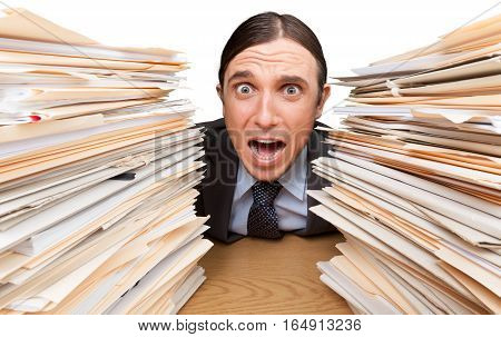 Portrait of a Shouting Employee with Stack of Folders