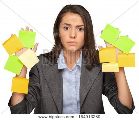Portrait of a Businesswoman Covered with Adhesive Notes