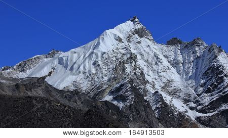 Mountain in the Everest National Park Nepal. Mount Kongma Tse and glacier.