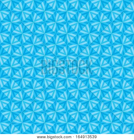 Abstract seamless background with relief stars in blue color - geometric vector pattern for creative design projects.